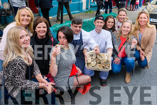 Pictured at the Dingle Food Festival on Saturday afternoon last, were l-r: Rochelle Lucey, Killorglin, Niamh Cullinane (Cloghane) Mary Normoyle (Cloghane) Catherine Breen (Killorglin) with chefs Nicky Foley and Shane Scanlon, Caragh Edwards (Killorglin), Caríosa Geraghty (Lispole), Norma Tyther (Killorglin) and Deirdre Ní Chinnéide (Dingle).