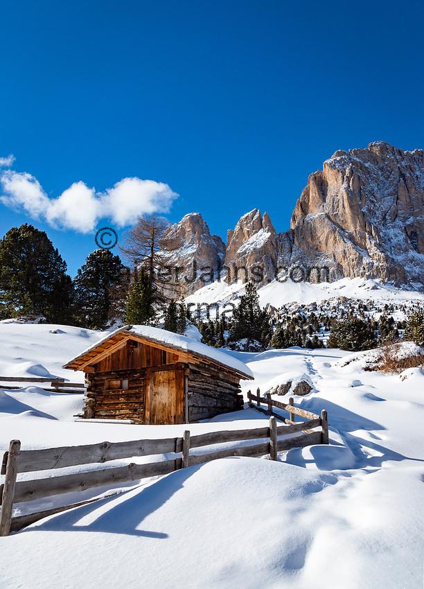 Italy, South Tyrol (Trentino - Alto Adige), Dolomites, near Selva di Val Gardena: hut and Sasso Lungo mountain at Sella Pass Road | Italien, Suedtirol (Trentino - Alto Adige), oberhalb von Wolkenstein in Groeden: Huette vorm Langkofel an der Sella-Joch-Passstrasse