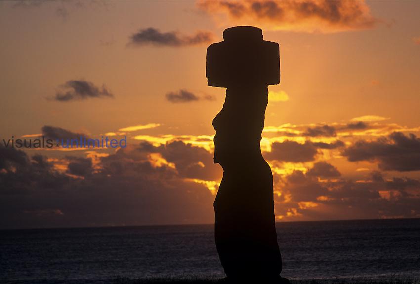 Sunset silhouette, Ahu Ko Te Riki, Easter Island, Chile.