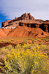 Capitol Reef National Park, Utah, UT, The Castle from the Visitor's Center, rock formation, landform, arid, Southwest America, American Southwest, US, United States, Image ut402-18133, Photo copyright: Lee Foster, www.fostertravel.com, lee@fostertravel.com, 510-549-2202