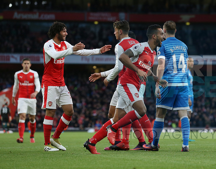 Arsenal's Theo Walcott celebrates scoring his sides second goal during the Premier League match at the Emirates Stadium, London. Picture date October 26th, 2016 Pic David Klein/Sportimage