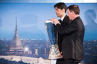 Paulo Ferreira e Steve Holland portano il trofeo durante la cerimonia di consegna del Trofeo dell'Europa League a Palazzo Madama di Torino  Europa League Trophy Handover   Torino 16/04/2014   Football Calcio   Foto Giorgio Perottino / Insidefoto