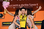 Enrico Battaglin (ITA) Team Lotto NL-Jumbo wins Stage 5 of the 2018 Giro d'Italia, running 153km from Agrigento to Santa Ninfa (Valle del Belice), Sicily, Italy. 9th May 2018.<br /> Picture: LaPresse/Gian Mattia D'Alberto | Cyclefile<br /> <br /> <br /> All photos usage must carry mandatory copyright credit (&copy; Cyclefile | LaPresse/Gian Mattia D'Alberto)