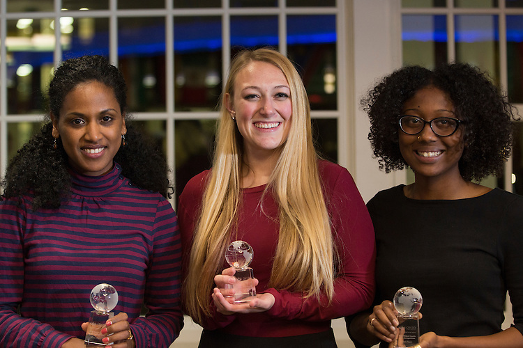 The Tranquilo Team, from left to right, Fithi Embaye, Brenna Innocenzi, and Abby Young placed first in the Global Health Case Competition during The Global Engagement Awards Gala for International Education Week on November 16, 2016.