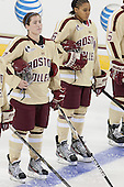 Dru Burns (BC - 7), Kaliya Johnson (BC - 6) - The visiting University of Minnesota Duluth Bulldogs defeated the Boston College Eagles 3-2 on Thursday, October 25, 2012, at Kelley Rink in Conte Forum in Chestnut Hill, Massachusetts.