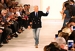 Designer Ralph Lauren is applauded by the audience after his presentation at New York Fashion Week in New York, Thursday, September 17, 2015. AFP PHOTO/TREVOR COLLENS