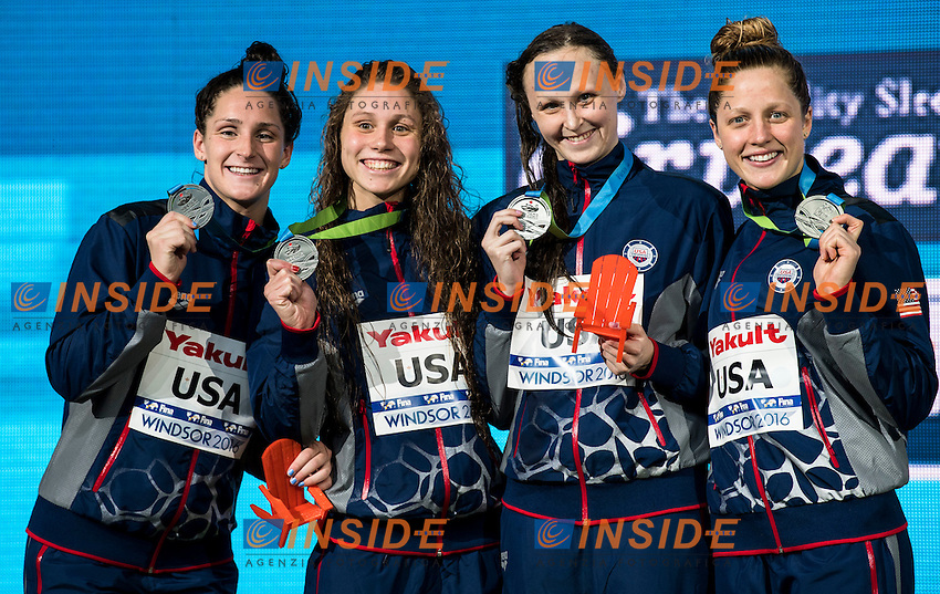 United States USA Silver Medal <br /> SMITH Leah COMERFORD Mallory Elizabeth GIBSON Sarah COX Madisyn <br /> Women's 4x200m Freestyle<br /> 13th Fina World Swimming Championships 25m <br /> Windsor  Dec. 10th, 2016 - Day05 Final<br /> WFCU Centre - Windsor Ontario Canada CAN <br /> 20161210 WFCU Centre - Windsor Ontario Canada CAN <br /> Photo &copy; Giorgio Scala/Deepbluemedia/Insidefoto