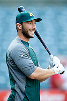 George Kottaras #14 of the Oakland Athletics before a game against the Los Angeles Angels at Angel Stadium on September 10, 2012 in Anaheim, California. Oakland defeated Los Angeles 3-1. (Larry Goren/Four Seam Images)