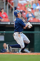 Durham Bulls outfielder Brandon Guyer #10 during a game against the Buffalo Bisons on June 24, 2013 at Coca-Cola Field in Buffalo, New York.  Durham defeated Buffalo 7-1.  (Mike Janes/Four Seam Images)