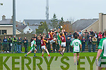 The Bernard O'Callaghan Memorial Senior Football Championship 2013, Round 1 Ballyduff (white/green) V Duagh (Red) which took place on Sunday in Frank Sheehy Park, Listowel.  Referee: Billy McElligot, Listowel Emmets.<br /> <br /> Padraig Boyle of Ballyduff with a spectacular catch while being challenged hard by Tim Quirke and Eoin Kelly of Duagh.