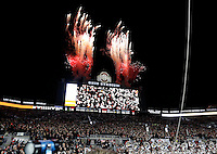 Pyrotechnics fire from atop the video board following Ohio State's 38-10 win over the Penn State Nittany Lions NCAA football game at Ohio Stadium in Columbus on Oct. 17, 2015. (Adam Cairns / The Columbus Dispatch)