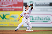Bradley Strong (18) of the Kannapolis Intimidators fields a throw at second base during the game against the Asheville Tourists at Intimidators Stadium on May 28, 2016 in Kannapolis, North Carolina.  The Intimidators defeated the Tourists 5-4 in 10 innings.  (Brian Westerholt/Four Seam Images)