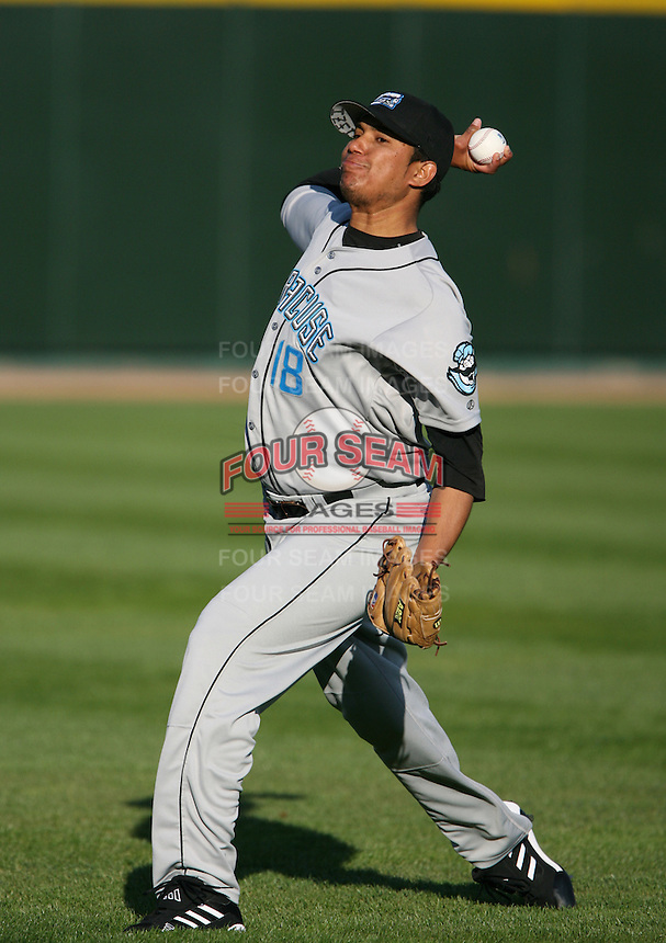 2007:  Ismael Ramirez of the Syracuse Chiefs throws in the outfield prior to a game vs. the Rochester Red Wings in International League baseball action.  Photo By Mike Janes/Four Seam Images