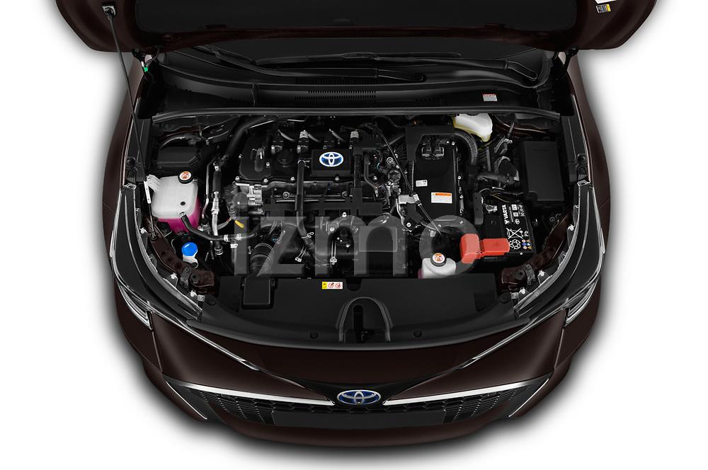 Car Stock 2019 Toyota Corolla-Hybrid Premium 5 Door Hatchback Engine  high angle detail view