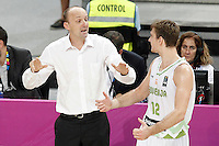 Slovenia's coach Zdovc Jure with his player Zoran Dragic during 2014 FIBA Basketball World Cup Quarter-Finals match.September 9,2014.(ALTERPHOTOS/Acero)