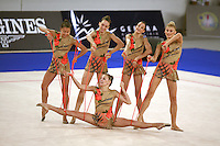 September 22, 2007; Patras, Greece;   Rhythmic group from Greece performs with 5-ropes at 2007 World Championships Patras.   Greece qualified in groups for 2008 Beijing Olympic Games.  Photo by Tom Theobald.