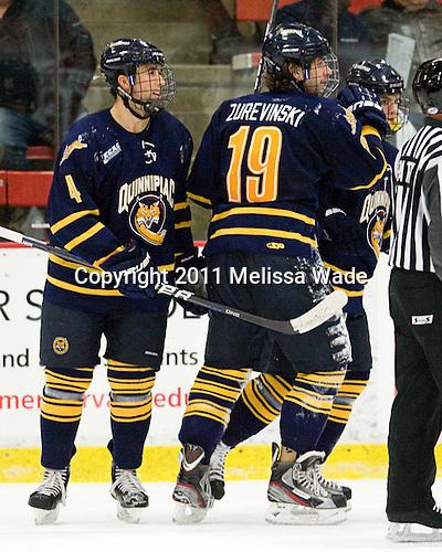 Loren Barron (Quinnipiac - 4), Scott Zurevinski (Quinnipiac - 19) - The Harvard University Crimson and Quinnipiac University Bobcats played to a 2-2 tie on Saturday, November 5, 2011, at Bright Hockey Center in Cambridge, Massachusetts.