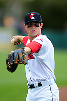 Pawtucket Red Sox second baseman Sean Coyle (3) prior to a game versus the Syracuse Chiefs at McCoy Stadium in Pawtucket, Rhode Island on April 30, 2015.  (Ken Babbitt/Four Seam Images)