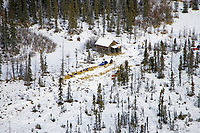 Aerial of Jason Barron & Aliy Zirkle resting at Don's Cabin between Ophir and Iditarod checkpoints