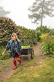 USA, California, Big Sur, Esalen, Kat carries some freshly picked lettuce from the Farm at the Escalen Institute