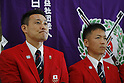 (L-R) Tomoyuki Matsuda, Teruyoshi Akiyama (JPN), JULY 19, 2016 - Shooting - Rifle : Japan Shooting team member attends a press conference in Tokyo, Japan. Japan Shooting Rifle Association has announced the Japan National team for 2016 Rio de Janeiro Summer Olympics and Paralympics. (Photo by Yusuke Nakanishi/AFLO SPORT)