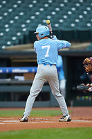 Logan Warmoth (7) of the North Carolina Tar Heels at bat against the Boston College Eagles in Game Five of the 2017 ACC Baseball Championship at Louisville Slugger Field on May 25, 2017 in Louisville, Kentucky. The Tar Heels defeated the Eagles 10-0 in a game called after 7 innings by the Mercy Rule. (Brian Westerholt/Four Seam Images)