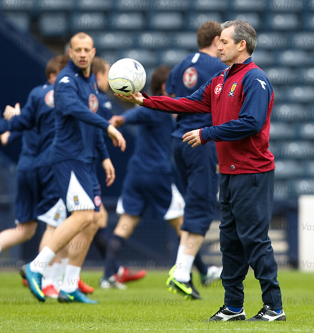 George Burley deep in thought as his Scotland squad train behind him at Hampden