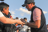 Phil Mickelson (USA) signs autographs following round 2 Four-Ball of the 2017 President's Cup, Liberty National Golf Club, Jersey City, New Jersey, USA. 9/29/2017.<br /> Picture: Golffile | Ken Murray<br /> <br /> All photo usage must carry mandatory copyright credit (&copy; Golffile | Ken Murray)
