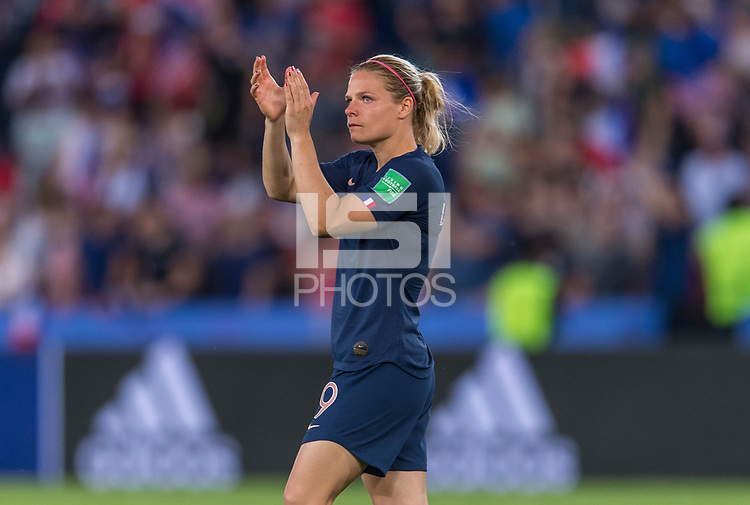 PARIS,  - JUNE 28: Eugénie Le Sommer #9 salutes the crowd during a game between France and USWNT at Parc des Princes on June 28, 2019 in Paris, France.