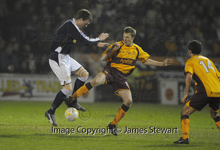 11/02/2008    Copyright Pic: James Stewart.File Name : sct_jspa03_motherwell_v_dundee.DUNDEE'S KEVIN MCDONLAD AND DAVID CLARKSON CHALLENGE.James Stewart Photo Agency 19 Carronlea Drive, Falkirk. FK2 8DN      Vat Reg No. 607 6932 25.Studio      : +44 (0)1324 611191 .Mobile      : +44 (0)7721 416997.E-mail  :  jim@jspa.co.uk.If you require further information then contact Jim Stewart on any of the numbers above........