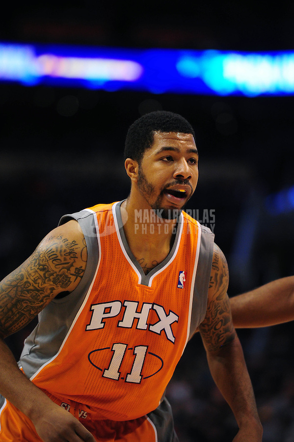Dec. 26, 2011; Phoenix, AZ, USA; Phoenix Suns forward Markieff Morris during game against the New Orleans Hornets at the US Airways Center. The Hornets defeated the Suns 85-84. Mandatory Credit: Mark J. Rebilas-USA TODAY Sports