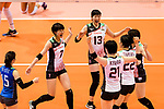 Yuki Ishii of Japan (L) celebrates a point with her team during the FIVB Volleyball Nations League Hong Kong match between Japan and Italy on May 29, 2018 in Hong Kong, Hong Kong. Photo by Marcio Rodrigo Machado / Power Sport Images