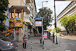 Retired traffic booths used by people to sit in and chat, Sofia, Bulgaria