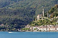 Switzerland, Ticino, Morcote at Lago Lugano with church Santa Maria del Sasso | Schweiz, Tessin, Morcote am Luganer See mit Kirche Santa Maria del Sasso