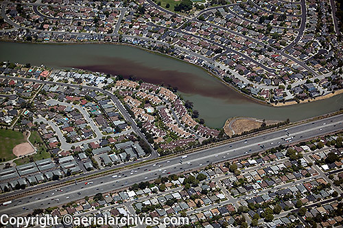 aerial photograph phytoplankton bloom Foster City, San Mateo county, California