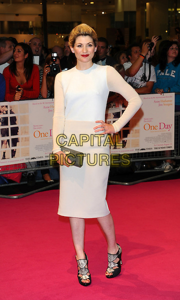 """JODIE WHITTAKER.""""One Day"""" UK premiere, Vue Westfield cinema, Westfield Shopping Centre, London, England..August 23rd, 2011.full length white dress sheer hand on hip silver clutch bag.CAP/CJ.©Chris Joseph/Capital Pictures."""