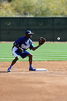 Dee Gordon of the Los Angeles Dodgers participates in spring training workouts at Camelback Ranch on February 11, 2014 in Glendale, Arizona (Bill Mitchell)