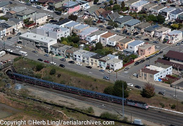 aerial photograph Caltrain emerges from tunnel San Francisco, California