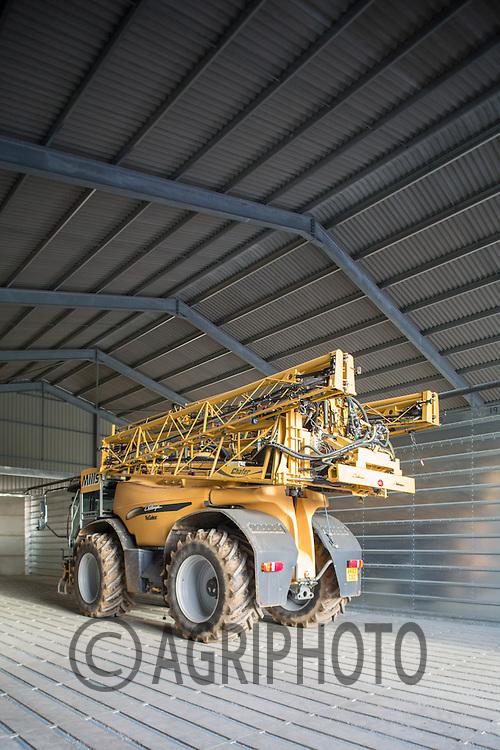 Crop Sprayer parked in a modern farm building<br /> Picture Tim Scrivener 07850 303986