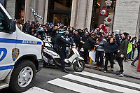 A NYPD Officer blocks the street during a protest against  Republican Presidential candidate Donald Trump in New York City 13.19.2016. Joana Toro/VIEWpress.