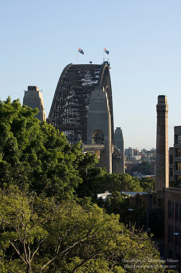Sydney, New South Wales, Australia; Sydney Harbor Bridge at sunrise, viewed from Argyle Street stairs to bridge walking path © Matthew Meier, matthewmeierphoto.com All Rights Reserved