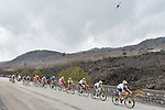 The riders on the slopes of Mount Etna during Stage 4 of Il Giro di Sicilia 2019 running 119km from Giardini Naxos to Mount Etna (Nicolosi), Italy. 6th April 2019.<br /> Picture: LaPresse/Fabio Ferrari | Cyclefile<br /> <br /> All photos usage must carry mandatory copyright credit (&copy; Cyclefile | LaPresse/Fabio Ferrari)