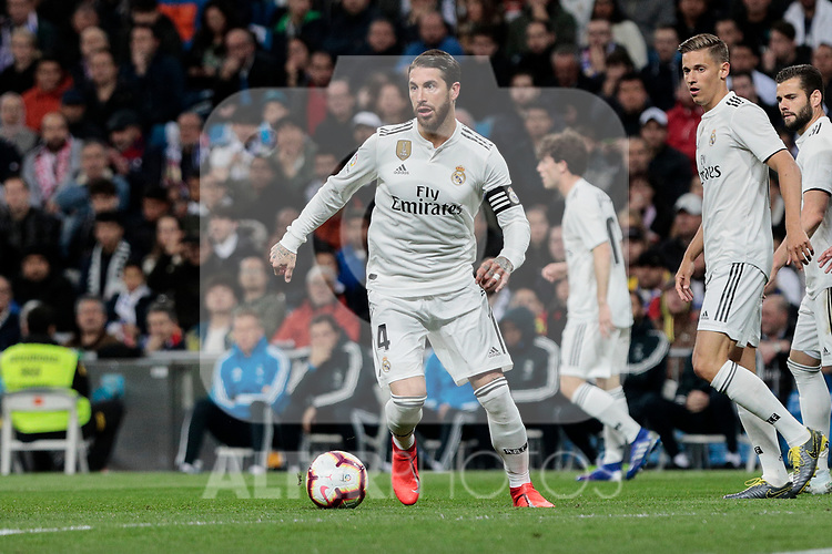 Real Madrid's Sergio Ramos during La Liga match between Real Madrid and SD Huesca at Santiago Bernabeu Stadium in Madrid, Spain.March 31, 2019. (ALTERPHOTOS/A. Perez Meca)