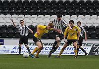 Tyler Fulton pushes away Sean Kelly in the St Mirren v Falkirk Clydesdale Bank Scottish Premier League Under 20 match played at St Mirren Park, Paisley on 30.4.13. ..