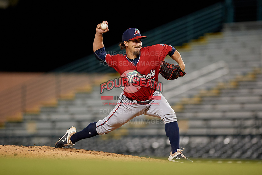 Fort Myers Miracle relief pitcher Tom Hackimer (17) during a Florida State League game against the Bradenton Marauders on April 23, 2019 at LECOM Park in Bradenton, Florida.  Fort Myers defeated Bradenton 2-1.  (Mike Janes/Four Seam Images)