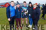 Eoin Ó Cruadhlaoich former An Ghaeltacht player and now captain of the Wild Geese from Los Angeles who won the Junior Mens final at the Lidl Comórtas Peile Páidí Ó Sé in Gallarus on Saturday standing with his family. <br /> L to r: Colm, Tomas, and Eoin Ó Cruadhlaoich, Christine and Mairead Uí Cruadhlaoich