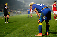 Lyle Taylor of AFC Wimbledon awaits his caution during the Sky Bet League 1 match between AFC Wimbledon and Charlton Athletic at the Cherry Red Records Stadium, Kingston, England on 10 April 2018. Photo by Carlton Myrie / PRiME Media Images.