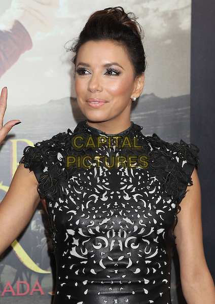 Eva Longoria.'For Greater Glory' LA premiere held at the AMPAS Samuel Goldwyn Theater, Beverly Hills, California, USA..31st May 2012 .half length dress black leather perforated pattern hair up bun  .CAP/ADM/RE.©Russ Elliot/AdMedia/Capital Pictures.