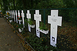 Memorials to East German citizens who died trying to escape into West Berlin during the time of the division of the city. The memorials are situated near the Brandenburg Gate on the former line of the Cold War barrier which was opened 15 years ago on 9th November 1989.