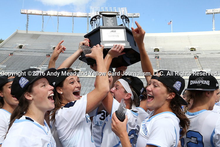 01 May 2016: UNC players celebrate with the trophy. The University of North Carolina Tar Heels played the Syracuse University Orange at Lane Stadium in Blacksburg, Virginia in the 2016 Atlantic Coast Conference Women's Lacrosse Tournament championship match. North Carolina won 15-14 in overtime.
